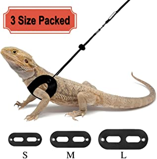 RYPET 3 Packs Bearded Dragon Harness and Leash Adjustable(S,M,L) - Soft Leather Reptile Lizard Leash for Amphibians and Other Small Pet Animals