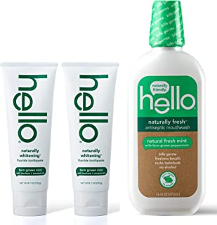 Sponsored Ad - Hello Oral Care naturally whitening fluoride toothpaste twin pack + naturally fresh antiseptic mouthwash