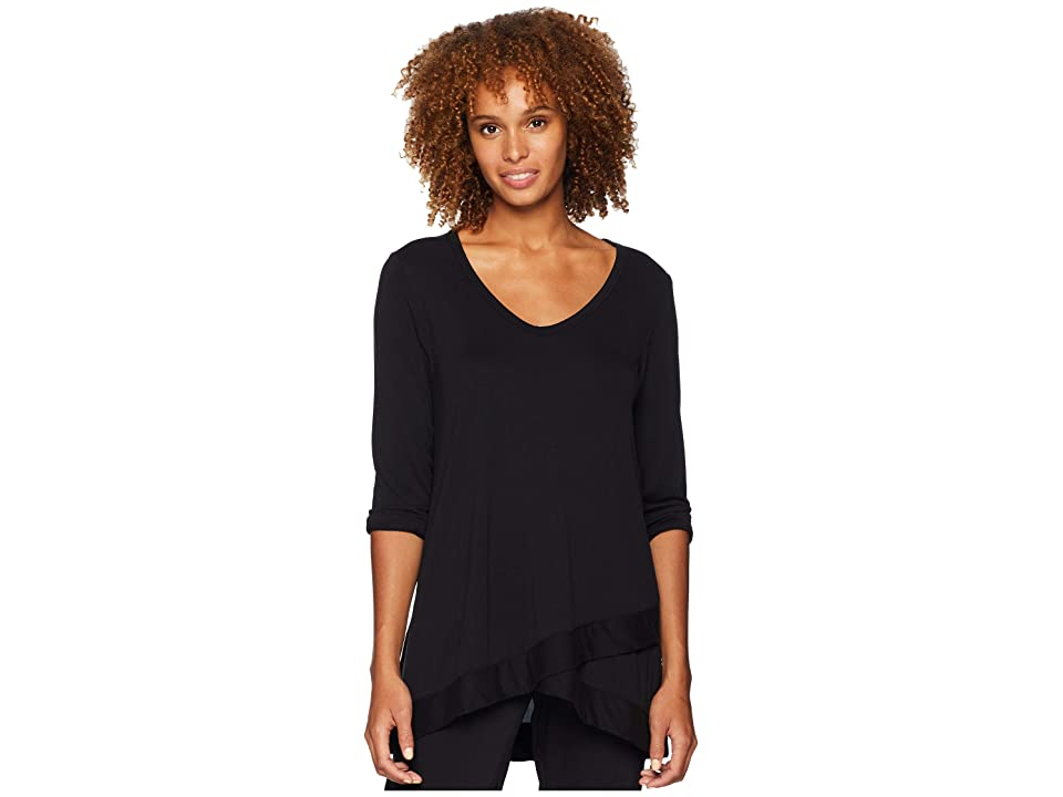 Mod-o-doc Sandwashed Modal Jersey 3/4 Sleeve Crossover Hem Tee (Black) Women