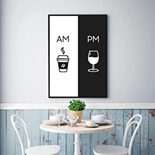 HYY-YY Am Coffee PM Wine Sign Print Kitchen Poster Home Wall Art Decor Coffee & Wine Art Canvas Painting Cuadro de Pared D...
