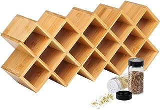 Étagère à épices en bambou pour 18 ans, étagère à épices - Convient pour les bouteilles à épices rondes et carrées - Pour ...