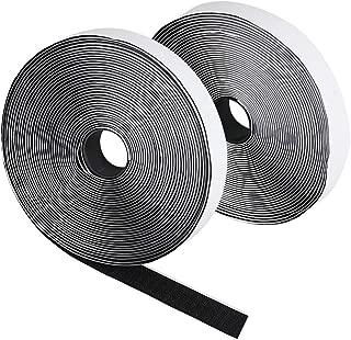 20 mm de ancho 1 rollo de cinta de velcro y gancho 10 metros de largo aproximadamente iLP Cinta de vector negra autoadhesiva Fijaci/ón segura extra fuerte para el trabajo de bricolaje
