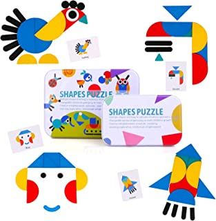 Wooden Jigsaw Puzzle, BBLIKE 37 PCS Wooden Puzzles + 60 PCS Image Cards Kids Puzzle Set Educational Toys for Sorting and Stacking Games for Aged 3+ Years Old Boys and Girls
