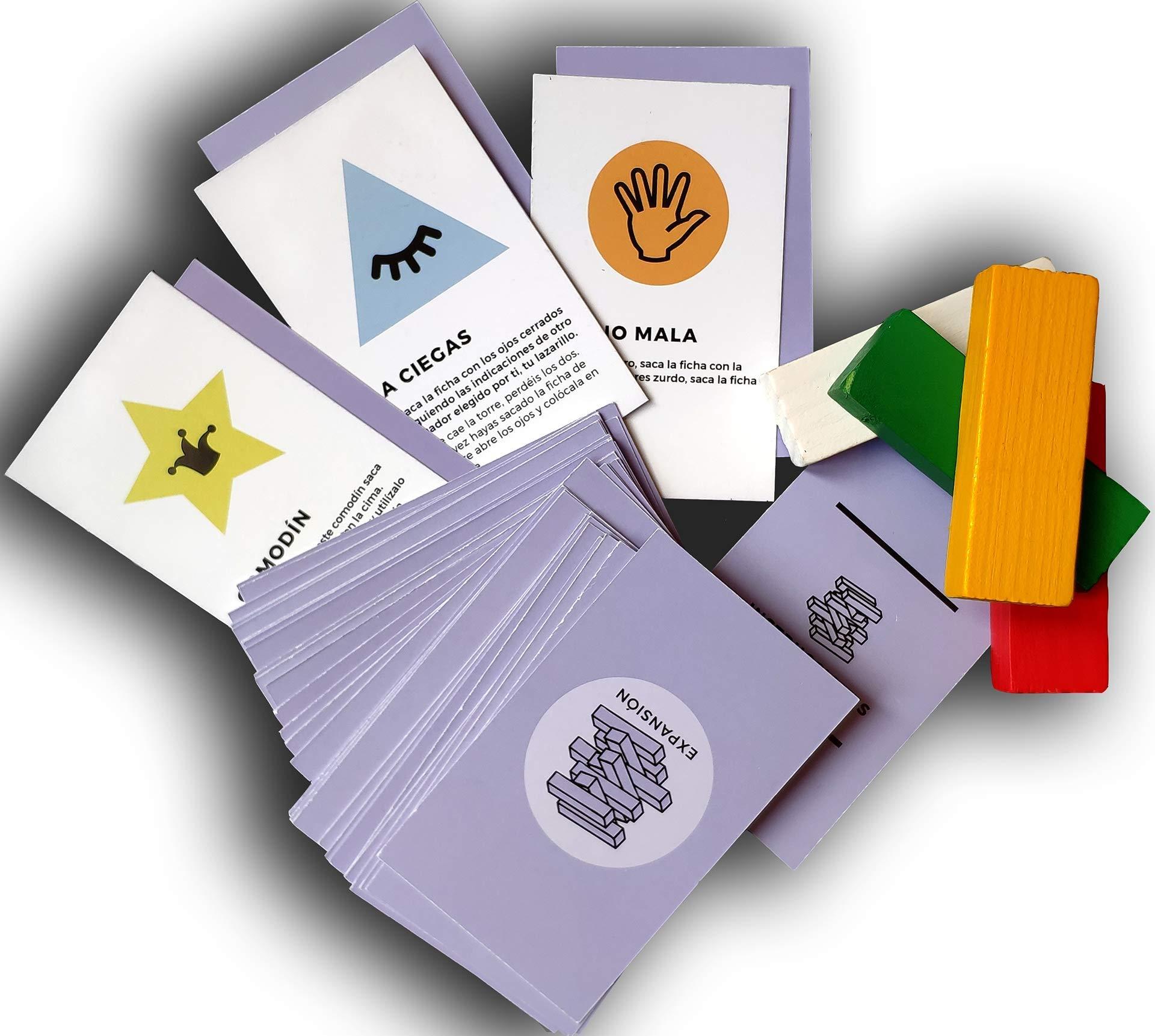 Encambio Alcrea EXPANSIÓN de Cartas para Torre de Bloques de Madera (Jenga™). Cartas con RETOS, Pruebas, COMODINES y Mucha diversión para el Popular Juego de Mesa. Torre DE Madera NO INCLUIDA: Amazon.es: