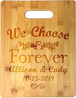 Custom Personalized We Choose Forever Infinity Heart Couple Names and Date Engraved Bamboo Cutting Board - Wedding, Annive...