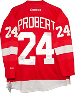 Reebok Bob Probert Detroit Red Wings Home Red Premier Jersey Sewn Tackle Twill Name and Number