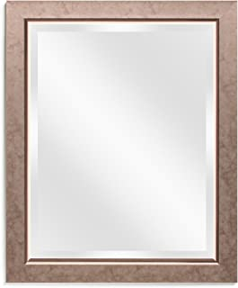 Wall Beveled Mirror Framed - Bedroom or Bathroom Rectangular Frame Hangs Horizontal & Vertical by EcoHome (Overall Size 26x32, Bronze)