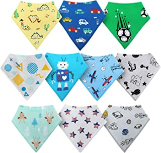 HOLABABY Baby Bandana Drool Bibs for Boys Girls 10 Pieces Organic Cotton Baby Bibs for Teething Newborn Toddler(Baby Boy)