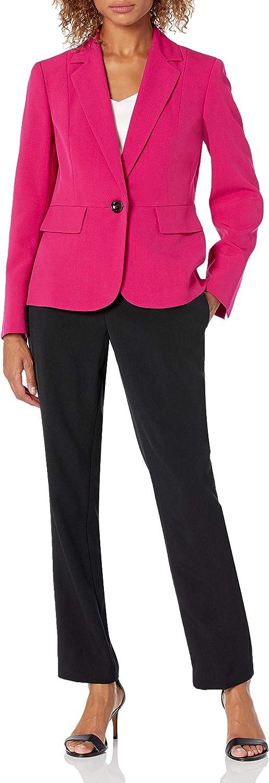 Le Suit Women's Ranking TOP16 1 Button Notch Pant Su Outlet sale feature Stretch Collar Slim Crepe