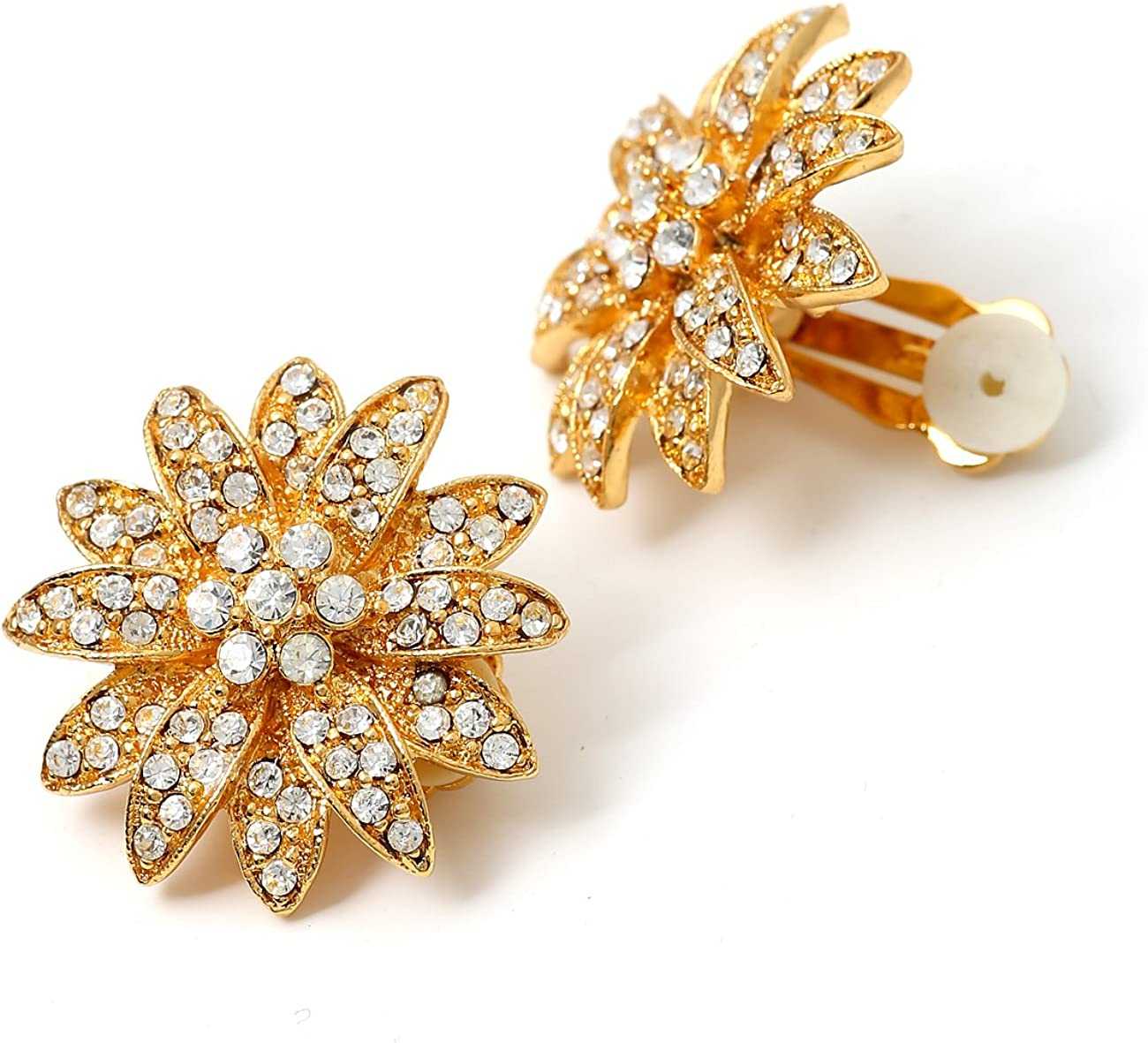 Ranking integrated 1st place Gold Crystal Rhinestone in Flower Earrings Clip Shape OFFicial