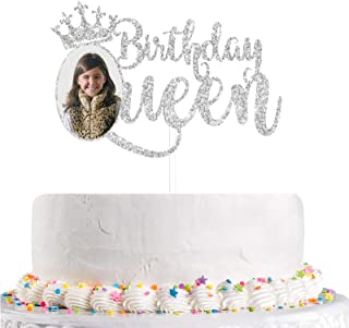 Talorine Silver Glitter Queen Birthday Cake Topper with Photo Frame, 1st - 16th - 18th - 21st - 30th - 40th - 50th - 60th ...
