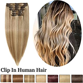 "10"" Ash Blonde & Bleach Blonde Trendy Remy Clip In On Human Hair Extension 8 Pcs 18 Clips Full Head Double Weft Brazilian Hair Extension Straight Highlighted Thick Hair For Women Fashion (10"",#18P613)"
