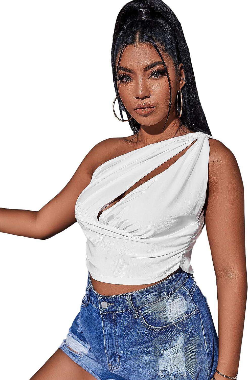 Romwe Women's Plus Size One Shoulder Crop Tops Sleeveless Cutout Tank Top