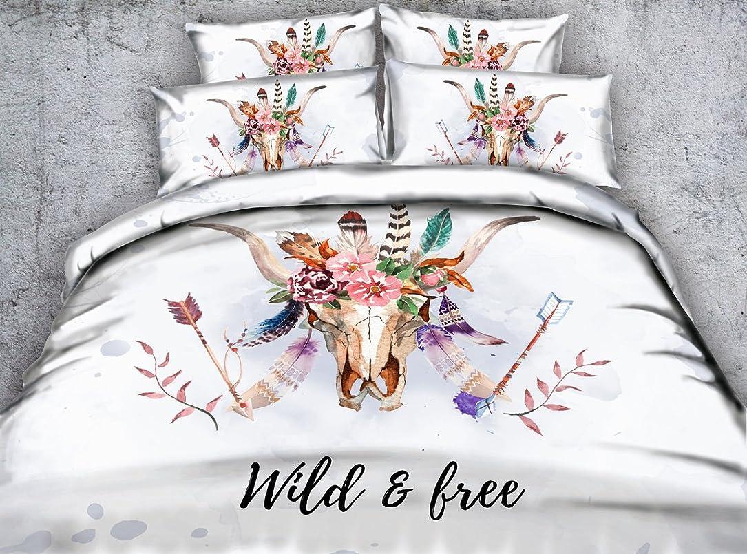 世界に死んだ主張する順応性のある3d動物Ox寝具セットツインフル/クイーンキングCal King bedspreads Dovetカバーセット枕カバー3個入りホームテキスタイル寝室セット Full/Queen ピンク