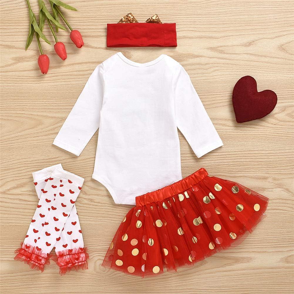 Miaouyo Baby Girls Romper Dress Outfits My 1st Valentine s Day Long Sleeve Jumpsuit Leg Warmer 4Pcs Infant Clothes Set Tutu Tulle Dress Bowknot Headband