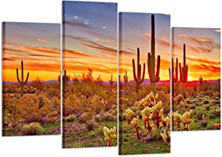 Kreative Arts - Colorfull Sunset with Saguaros Landscape Canvas Wall Art Sonoran Desert Picture Gallery Wrapped Botanical Cactus in Arizona Picture Print on Canvas for Living Room