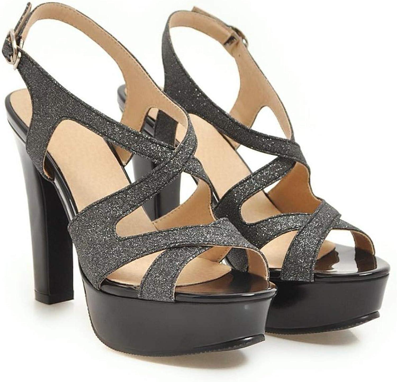 YuJi Women High Heels Gladiator Sandals Peep Toe Platform shoes Black Ladies Party shoes,Black,9