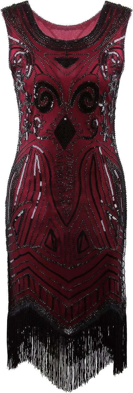 VIJIV Women's 1920's Vintage Gatsby Bead Sequin Art Nouveau Deco Flapper Dress