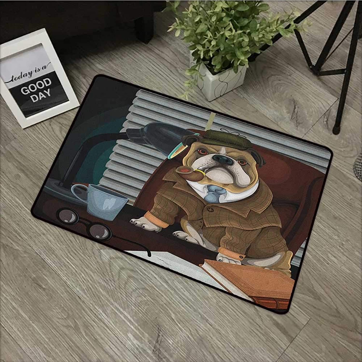 Square door mat W35 x L59 INCH English Bulldog,Traditional English Detective Dog with a Pipe and Hat Sherlock Holmes Image, Multicolor Easy to clean, no deformation, no fading Non-slip Door Mat Carpet