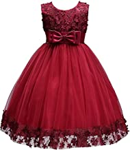 Acecharming Baby Girl Flower Lace Hemline Wedding Party Ball Gown Dress(2-10 Years Old)