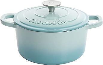 Crock-Pot Artisan Round Enameled Cast Iron Dutch Oven, 5-Quart, Aqua
