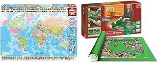 Pack Puzzle Educa 17117. Mapamundi Politico. 1500 piezas + Tapete Puzzle Roll 2000 piezas. 4810/64239