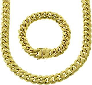 Bling Bling NY Solid 14k Yellow Gold Finish Stainless Steel 14mm Thick Miami Cuban Link Chain Box Clasp Lock (Chain 20'' & Bracelet 8'')