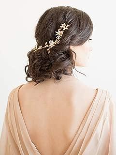 Jakawin Flower Bride Wedding Hair Vine Leaf Bridal Hair Piece Rhinestone Hair Accessories for Women and Girls HV107