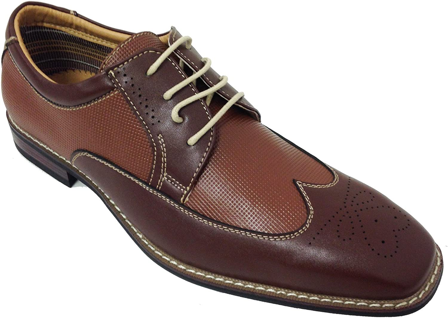 BL-19280 Men's Wing Tip Oxfords Lace up Leather Lined Casual Italy Style Dress Shoes, White, Brown