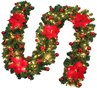 2.7Meters Christmas Lighted Garland Ratten with 3Meters LED Light, Christmas Flowers Christmas Balls Decorations, for Indo...