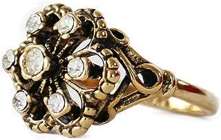 Providence 复古珠宝透明施华洛世奇水晶复古 18k 黄金电镀戒指