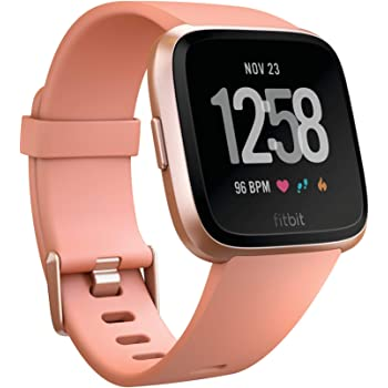 Fitbit Versa Smart Watch, Peach/Rose Gold Aluminium, One Size (S & L Bands Included) (Renewed)