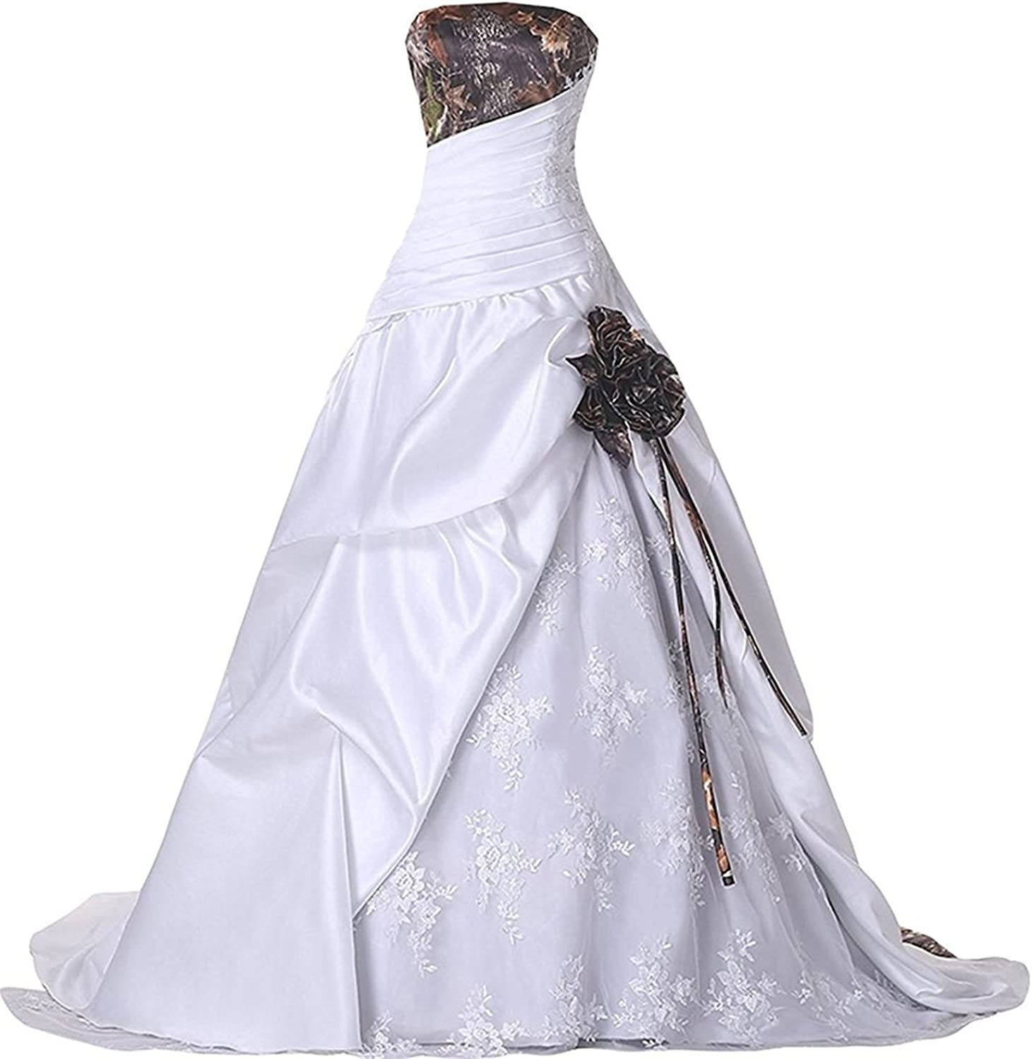 BEALEGAN Lady Women's Camouflage Wedding Dresses Appliques Camo Bridal Quinceanera Gowns
