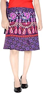 Women's Cotton Printed Knee Length Regular Wrap Around Skirt (W20NT_0005)