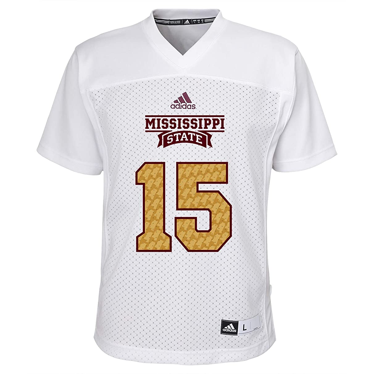 adidas Youth Mississippi State Bulldogs # 15 Egg Bowl Football Jersey - White