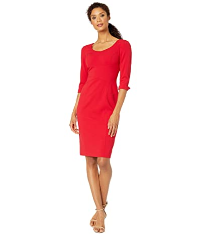 Tahari by ASL Long Sleeve Stretch Crepe Sheath Dress with Stitched Down Waistline (Ruby) Women