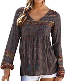 Remanlly Womens Vintage Print Daily Casual Long Sleeve V Neck Tops Ladies Blouse T-Shirt