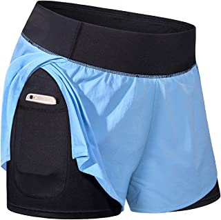 Women Elastic Waist Workout Shorts with Liner Yoga Shorts with Pocket Sizes XS-3XL