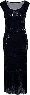 VIJIV Long Prom 1920s Vintage Fringe Sequin Art Nouveau Deco Flapper Dress