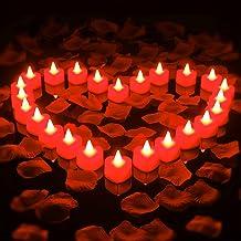 1000 Faux Pétales de Roses Artificielles et 24 Bougies Chauffe-Plat LED sans Flamme en Forme de Coeur Bougies LED Amour Ro...