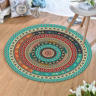 MOXIC Traditional Round Area Rugs Soft Living Room Bedroom Children Kids Crawling Rug Bathroom Mats Anti-Slip Persian Heriz Carpet Vintage Home Decorate Collection Circular Nursery Runners 3' X 3'
