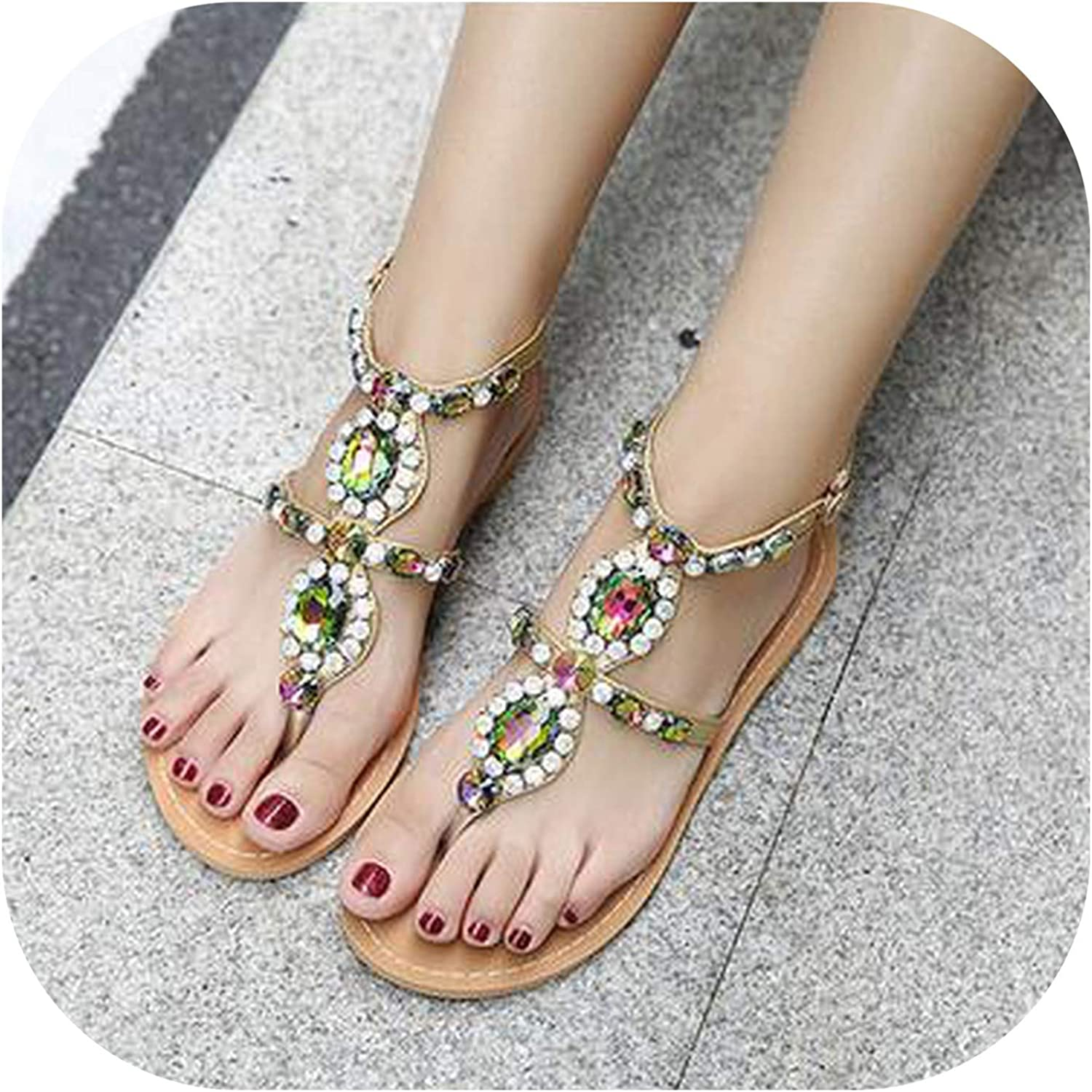 April With You Rhinestone Fashion Flat shoes Women Sandals Large Size Casual shoes Summers Sandals