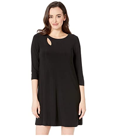 American Rose Riona 3/4 Sleeve Keyhole Dress (Black) Women