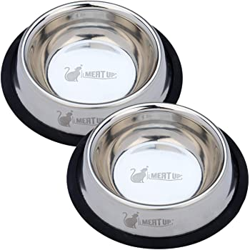 Meat Up Stainless Steel Cat Feeding Bowl (Buy 1 Get 1 Free), 225ml