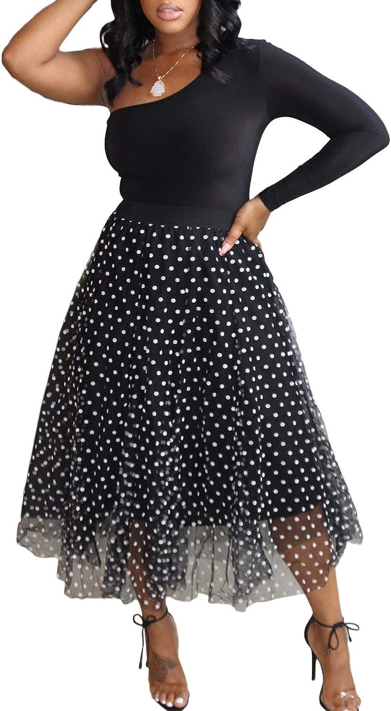 LETSVDO Women Casual Spot Printed Tulle Knee Length Skirts