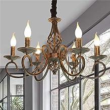 Hanglamp antieke industriële hanglamp klassieke hanger kaars kroonluchter in hoogte verstelbaar E14 smeedijzeren hanglamp ...