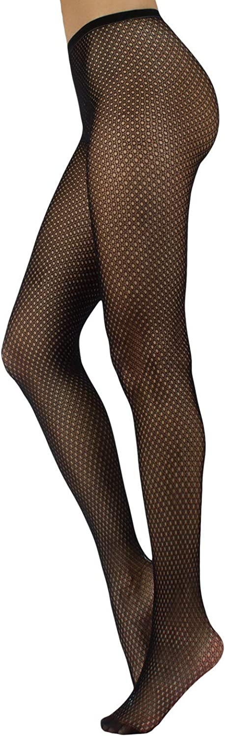 Fishnet Pantyhose with Geometric Patterns   Micro Net Patterned Tights   S M, L XL   Black   Made in
