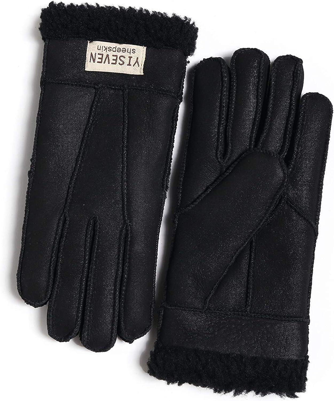 YISEVEN Damen Lammfell Handschuhe aus Shearling mit Logo