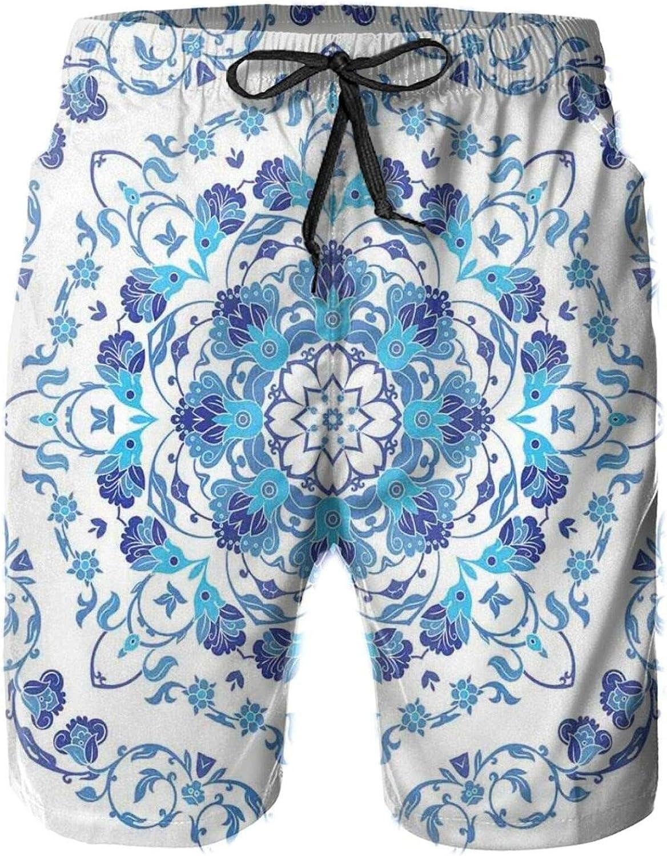 Rich Floral Ornamental Round Motif with Vintage Oriental Design Mens Swim Shorts Casual Workout Short Pants Drawstring Beach Shorts,XXL