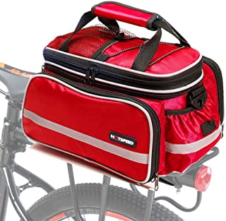 CamGo Bike Rear Seat Bag Waterproof Bicycle Rack Trunk Pannier Portable Frame Bags with Raincoat/Lengthened Shoulder Strap